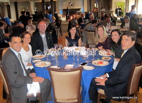 From left to right: Consul-General of Greece Dimitrios Azemopoulos, Christine Cushing, Peter Minakis, Betty, Samantha and Eleni Bakopoulos (Three Greek Sisters) and Commercial Attache for the Greek Consulate, Christos Gribas
