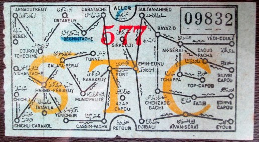 19thc Istanbul tram ticket. Image from midafternoonmap.com