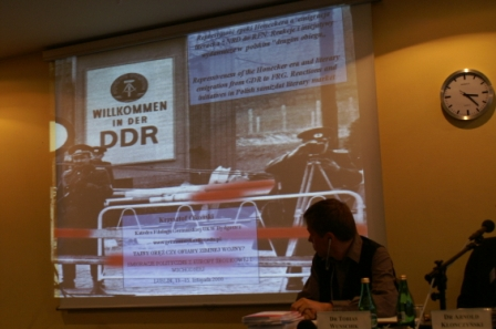 """Willkommen in der DDR!"" -- A relic from the past, during the East German panel"