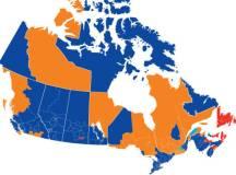 Orange crush, kék tenger: Kanada válaszási térképe 2011-ben. A narancssárga az NDP-t jelenti, a kék a torykat és a piros a liberális pártot
