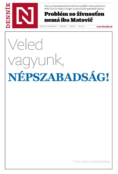 A szlovák Denník N című napilap hétfői címlapja...