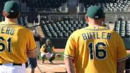 billy butler in a green and gold oakland jersey just looks weird the