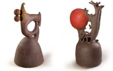 "Harue McVay's ceramic artwork: ""35.5"" x 21.5"" x 18"" (left) and 30"" x 15"" x 15"" (right) – Courtesy of Bonnie Beatson"