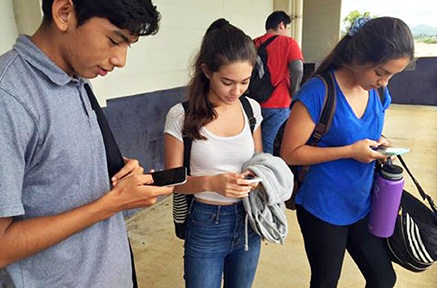 Students at Castle High School use their phones as they wait for class – Courtesy of Esther Higa