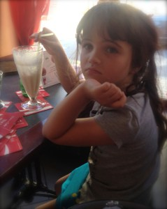 Sequoia indifferently sips on a milkshake in BELGIUM