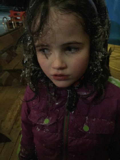 and my despondent child's frozen hair