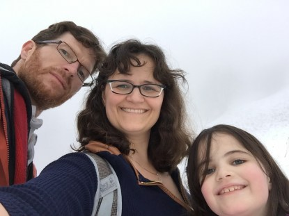 family hiking, fog, europe