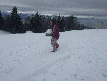 playing in the snow, hiking in europe