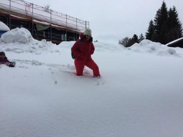 walking in the deep snow alps austrian