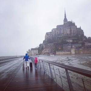 walking to mont st michel france normandy