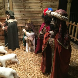 There is a large mechanical nativity scene set up in town
