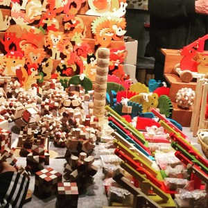 Rows and rows of toys, ornaments, and other gifts are for sale