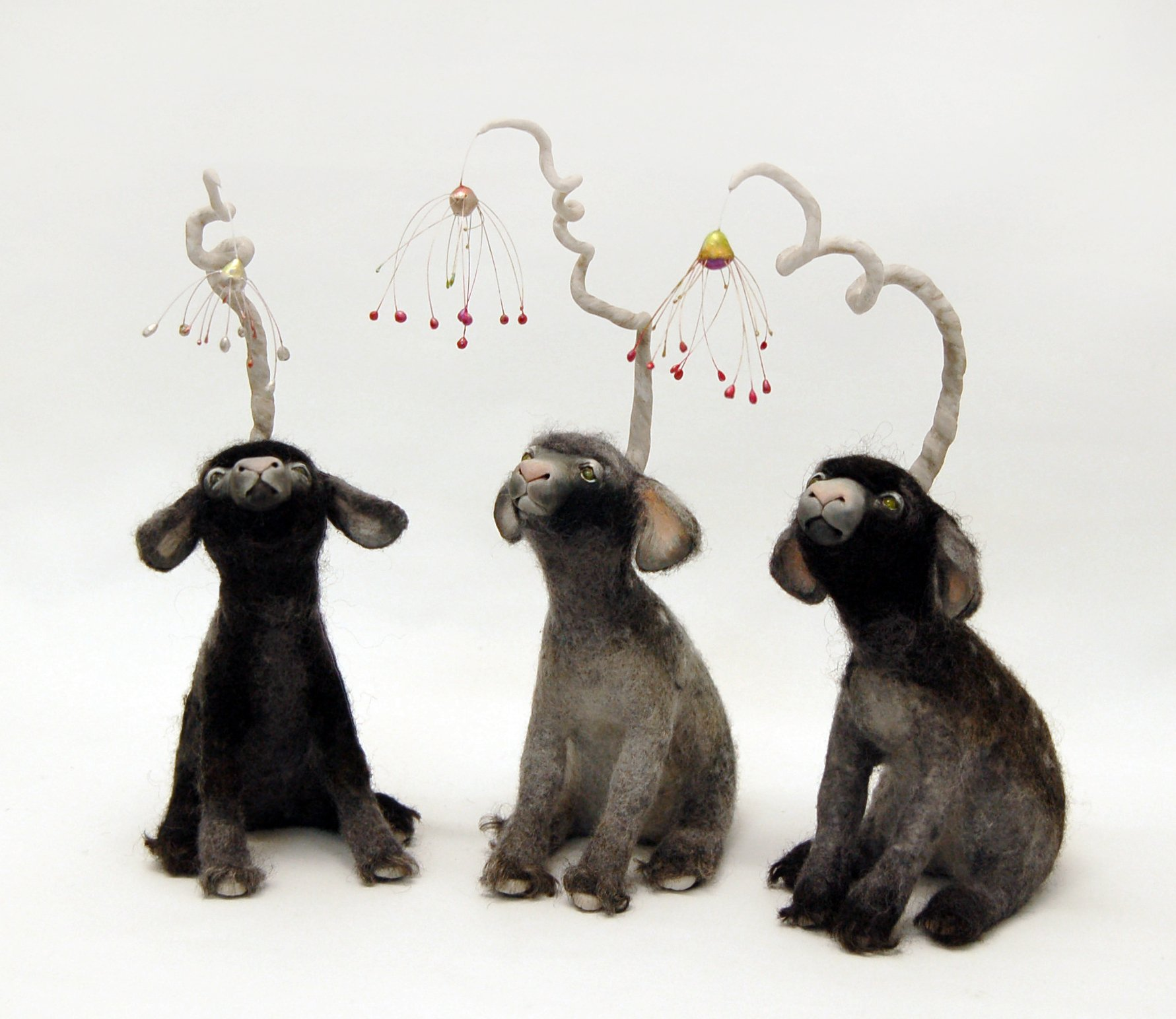 Felt and mixed media lamb sculpture by Karina Kalvaitis - all rights reserved