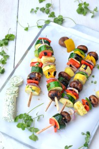 HBD Grilled Vegetable Skewers with Garlic Lemon Thyme Butter 1