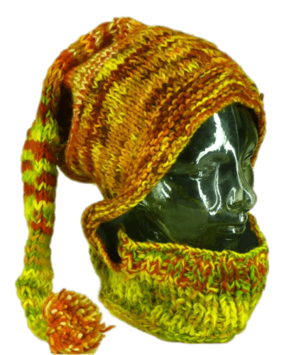 Orange and yellow knitted snoody| Karma Gear