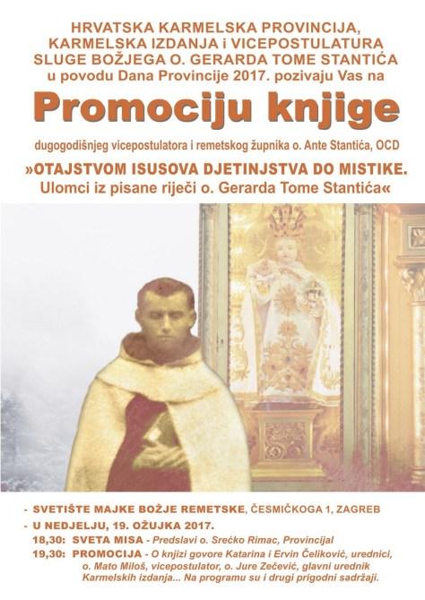 1. PLAKAT-PROMOCIJA KNJIGE REMETSKOG ŽUPNIKA KARMELIĆANINA O. ANTE STANTIĆA 19.III.2017.