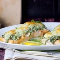 Łosoś zapiekany ze szpinakiem i mozzarellą / Salmon baked with spinach and mozzarella