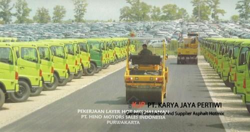 Pengaspalan Halaman Parkir PT. Hino Motors Indonesia, Pengaspalan Jalan konstruksi jalan jasa apal hotmix aspal beton jabodetabek jakarta bogor depok tangerang bekasi karawang cikampek cileungsi cibubur purwakarta
