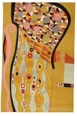 Examplary Klimt Rugs Abstract Wall Hangings Hand Embroidered Accent Rug Tapestry Art Nouveau Yellow Carpet Decorative Wall Art Tapestries Artwork 1c