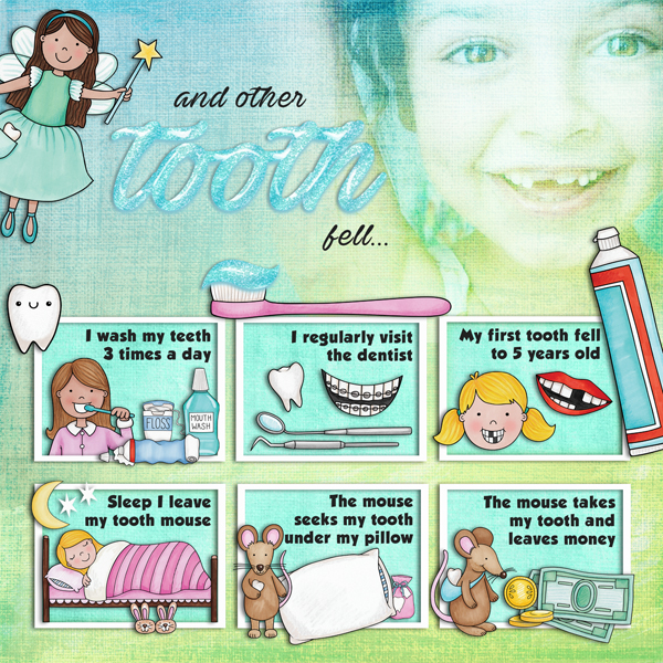 "Kate Hadfield Designs creative layout: ""Tooth Fairy"" 