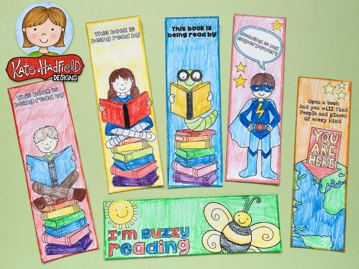 Colour In Bookmarks ~ FREE printable bookmarks from Kate Hadfield Deisgns