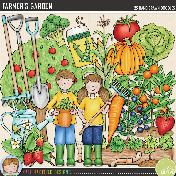 Farmer's Garden doodles by Kate Hadfield Designs
