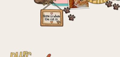 Kate Hadfield Designs Creative Team inspiration Here Kitty Kitty Digital scrapbook layout by Dagi