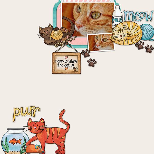 "Kate Hadfield Designs Creative Team inspiration: ""Here Kitty Kitty"" | Digital scrapbook layout by Dagi"