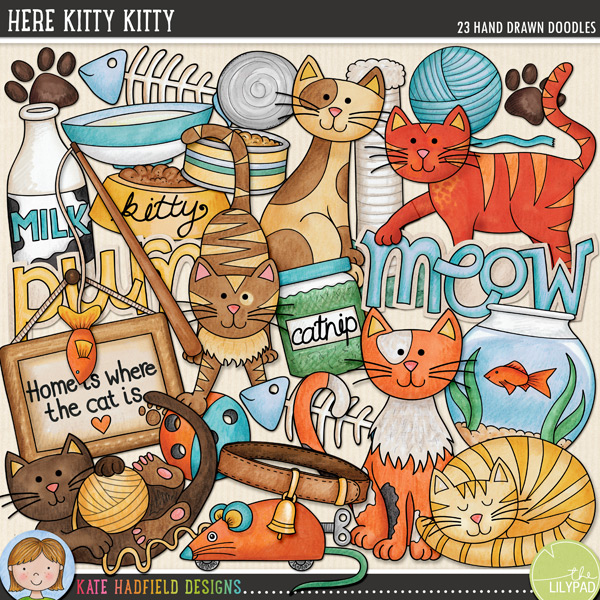Here Kitty Kitty doodles by Kate Hadfield Designs
