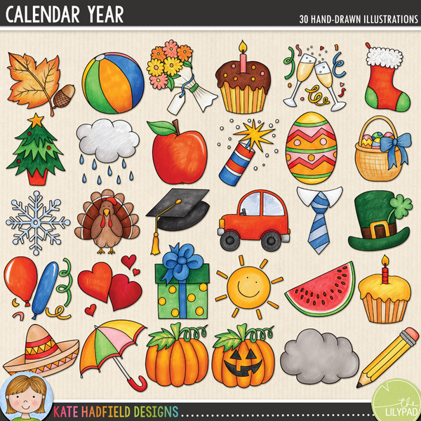 Calendar Year doodles from Kate Hadfield Designs