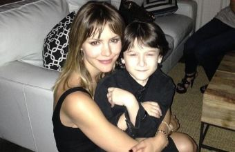 Katharine and her TV son Riley B. Smith