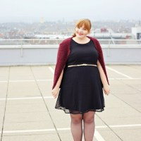 Little Black Dotted Dress + Fuzzy Cardigan {What I Wore}