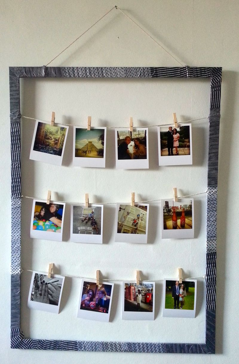 Sightly Diy Frame Patterned Tape To Display Polaroid Style S Finishedversion Project Polaroid Style Display Diy Frame Easel Diy Frame Card Box