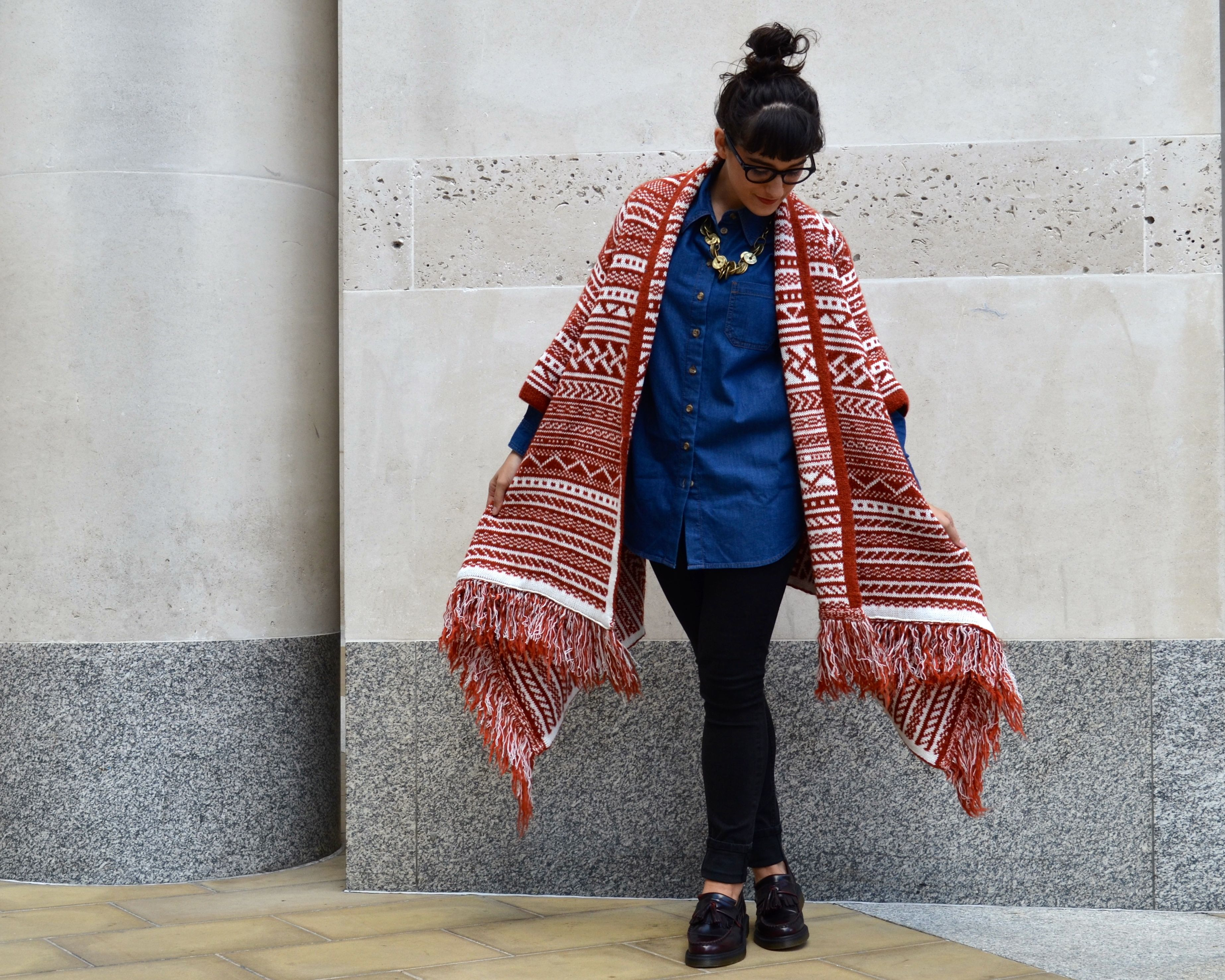 asos pattern cardigan in maxi drape shape and denim boyfriend shirt with dr martens loafers pictures for an office