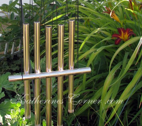 wind chime and day lilies