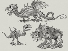 A western dragon and two monster creatures