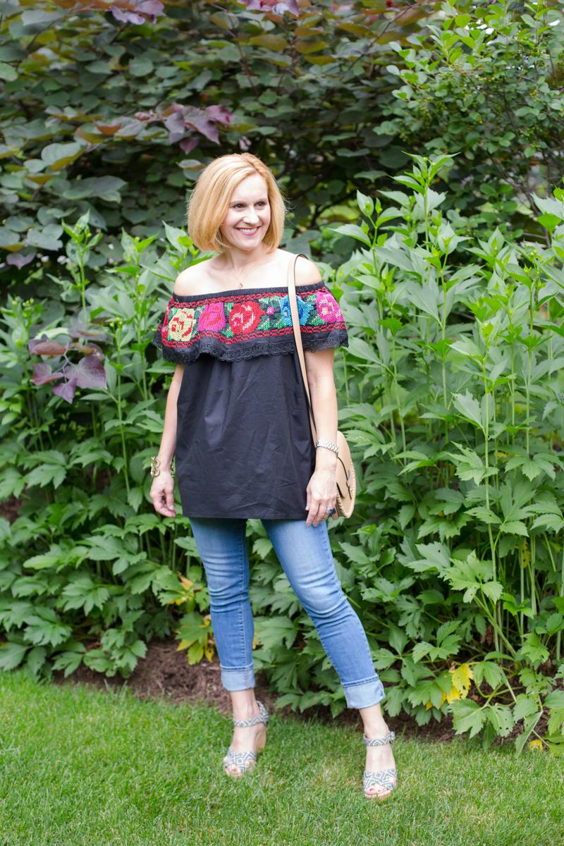 Embroidered Off the Shoulder - Kathrine Eldridge, Wardrobe Stylist