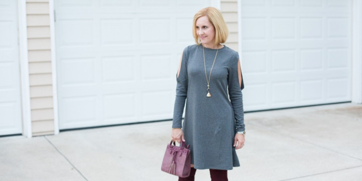 Styling a Shein shift dress with oxblood over the knee boots and mini bag.