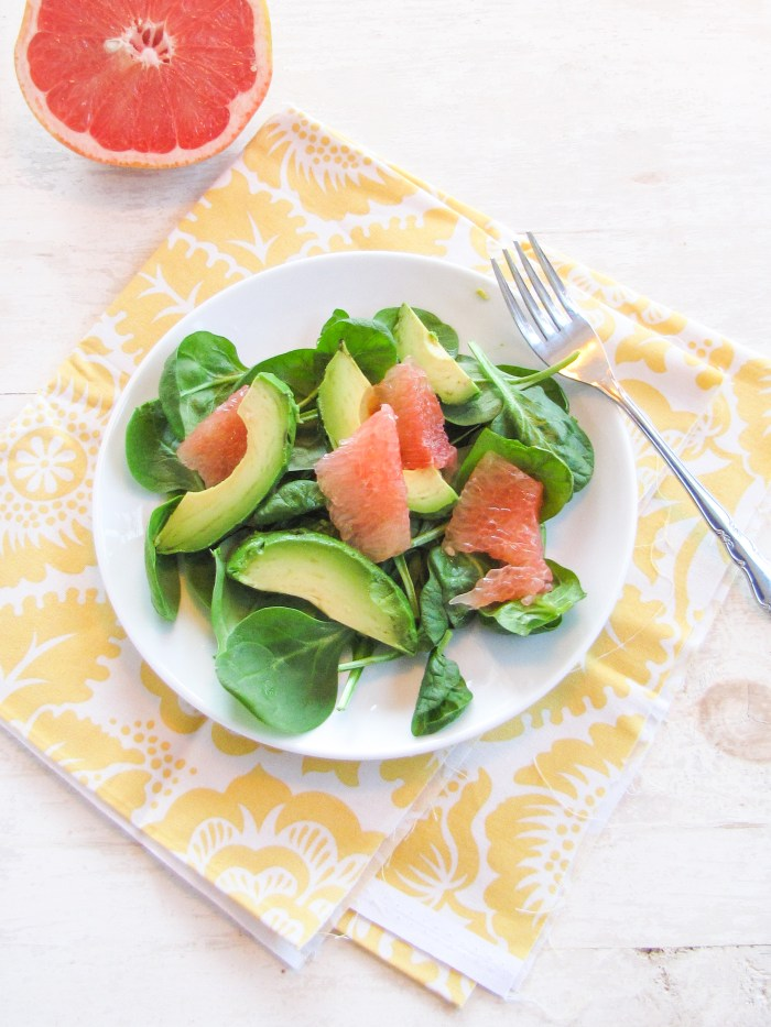Grapefruit, Avocado, and Spinach Salad