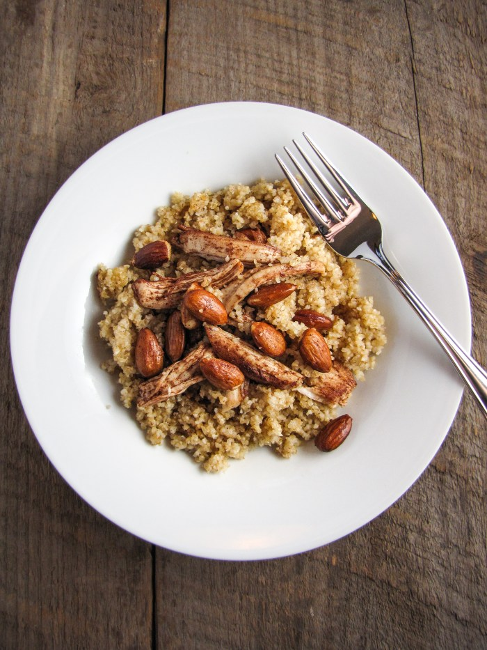 Bulghur with Cinnamon-and-Butter-Roasted Chicken and Almonds {Katie at the Kitchen Door}