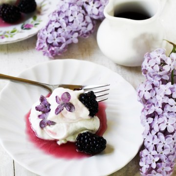 Lilac and Blackberry Pavlovas {Katie at the Kitchen Door}