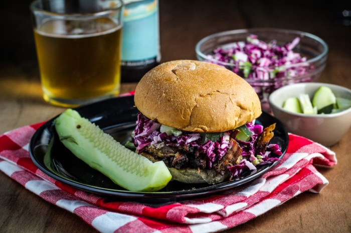 Pulled Pork and Purple Coleslaw Sandwich {Katie at the Kitchen Door}