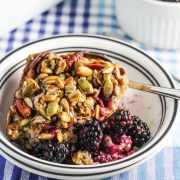 Baked Blackberry Oatmeal with Crunchy Seed Topping {Katie at the Kitchen Door}