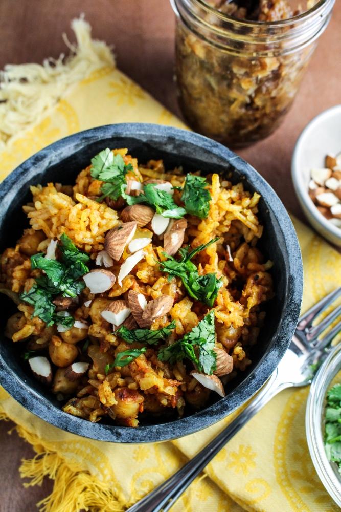 Pakistani Chickpea Pulao with Hot-Sweet Date-Onion Chutney {Katie at the Kitchen Door} #vegan