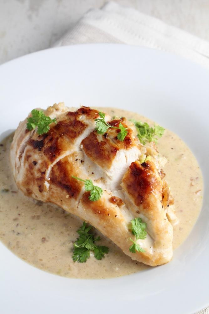 Pistachio-Stuffed Chicken in Parmesan Cream Sauce {Katie at the Kitchen Door}