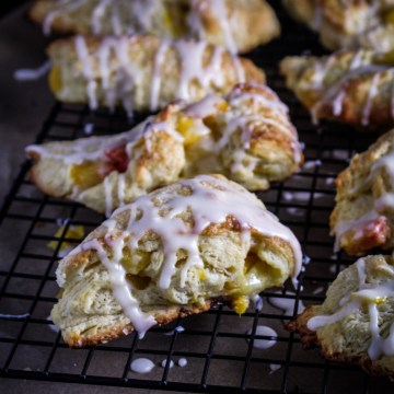 Peach Scones with Bourbon Glaze {Katie at the Kitchen Door}