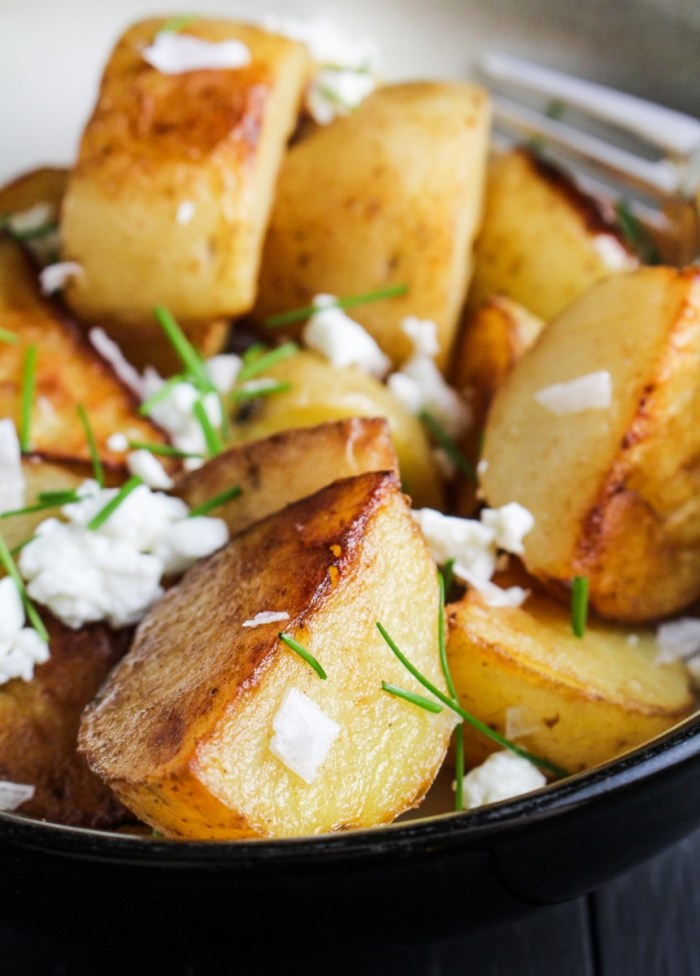 Crispy Sea Salt and Vinegar Potatoes with Goat Cheese and Chives {Katie