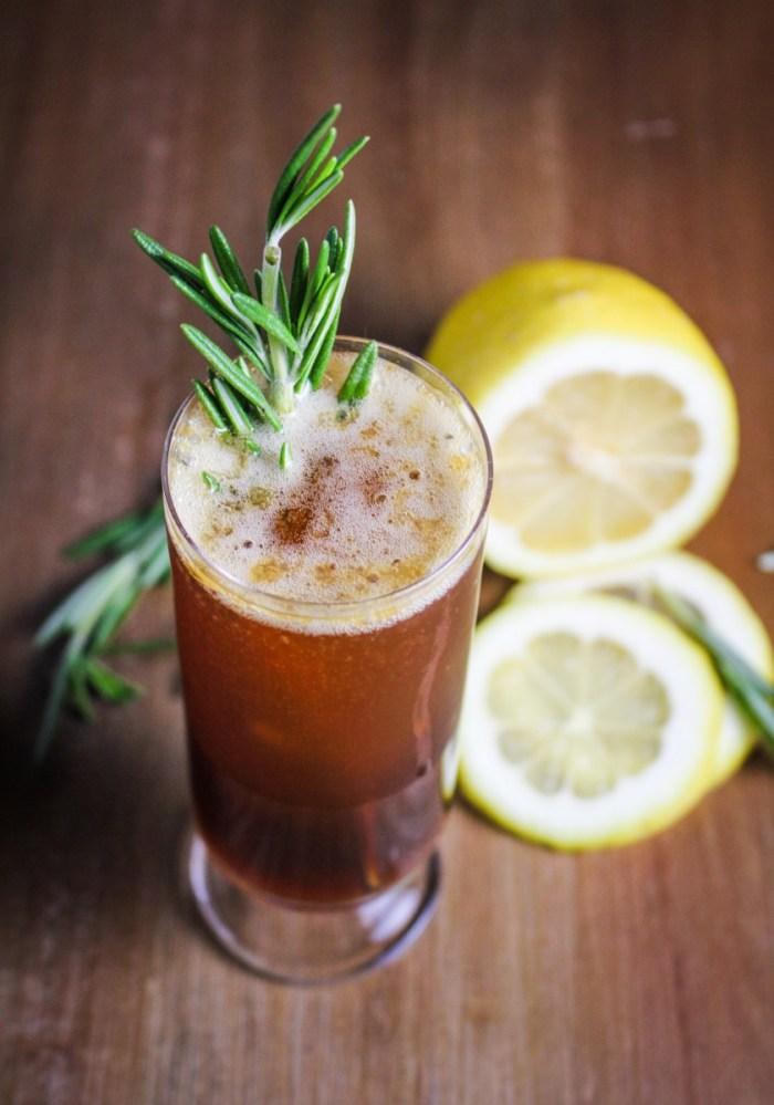 Roman Holiday Cocktail: Lemon, Honey, Amaro, Prosecco {Katie at the Kitchen Door}