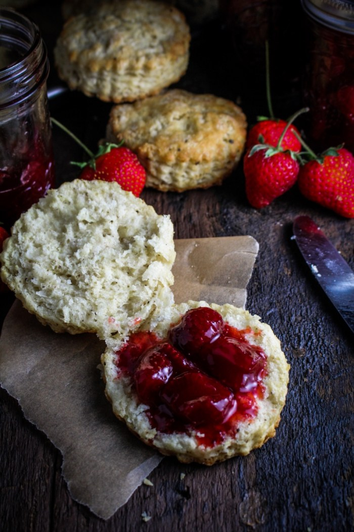 Black Pepper Buttermilk Biscuits with Strawberry Pinot Noir Jam {Katie at the Kitchen Door}