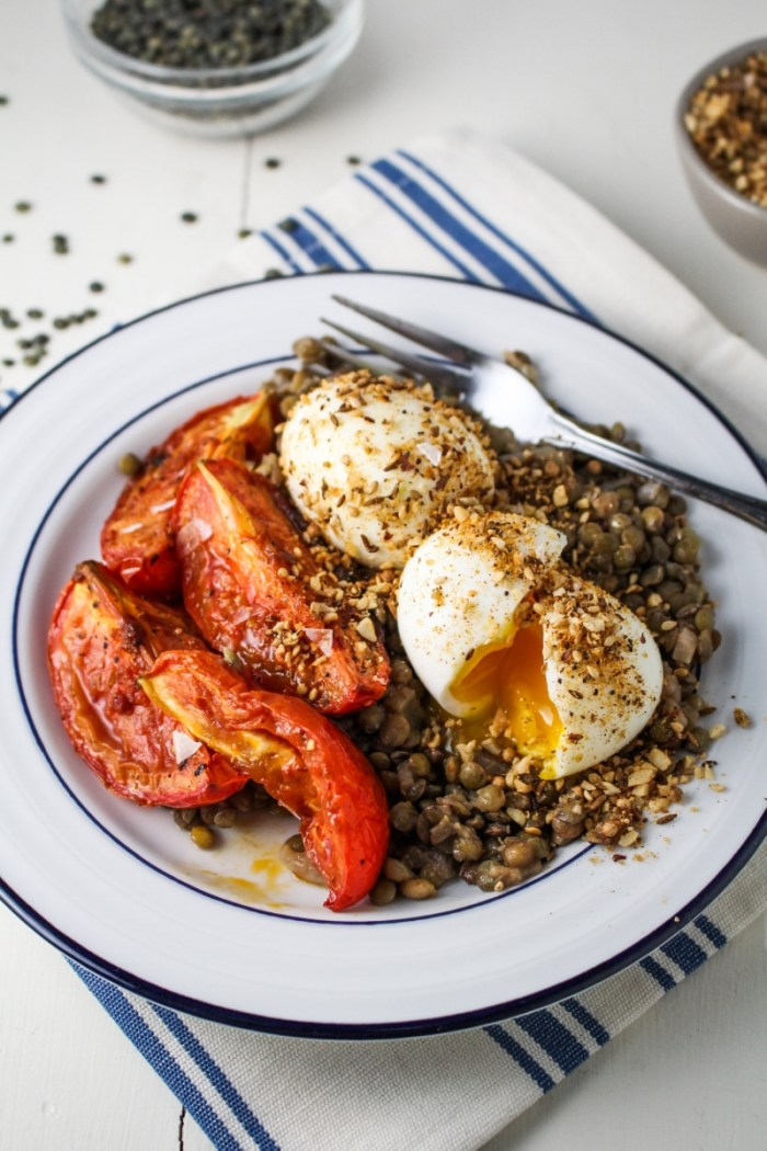 Lentils, Harissa-Roasted Tomatoes, Dukka-Rolled Eggs {Katie at the Kitchen Door}